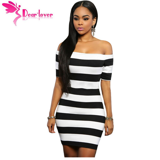 Dear-Lover Hot Selling sexy summer slash neck Vestidos Robes for Party 2016  Black White ac4688773096