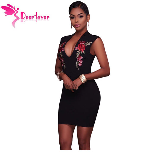 0f58843d5 Dear Lover Little Black Dresses for Party Sexy Bodycon 2017 Summer Rose  Embroidery V-neck