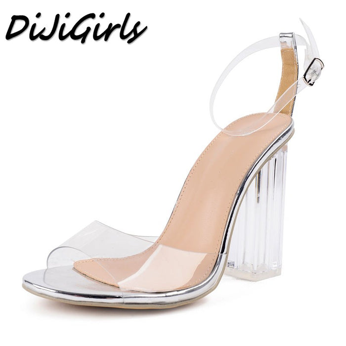 c9d4f312c447 DiJiGirls women Open toe sandals ladies pumps thick high heels shoes woman  Crystal Clear Transparent ankle