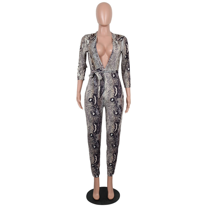 64ab3ae9d1c HAOYUAN Fashion fall jumpsuits long sleeve leotard deep v neck serpentine  print overalls body sexy club rompers womens jumpsuit