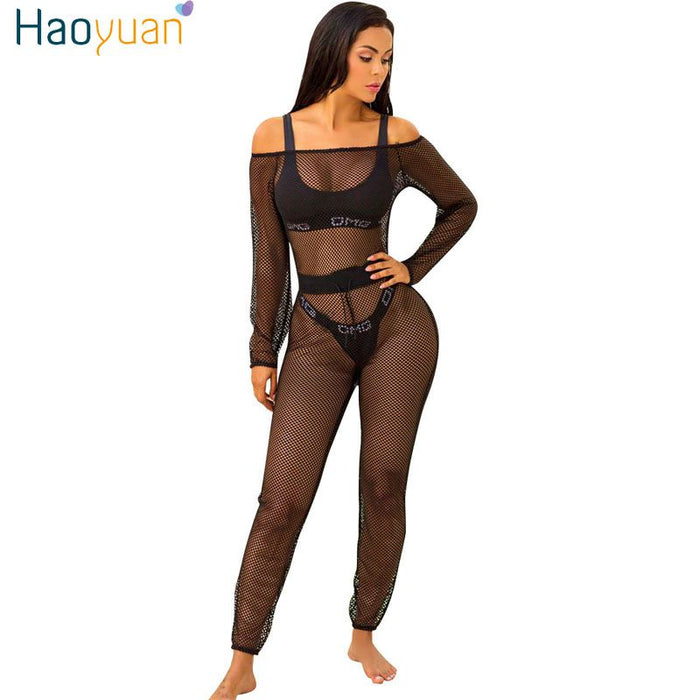 d6ed8ba81df HAOYUAN See Through Off Shoulder Mesh Sexy Jumpsuit Hollow Out Night Club  Beach Slash Neck Long