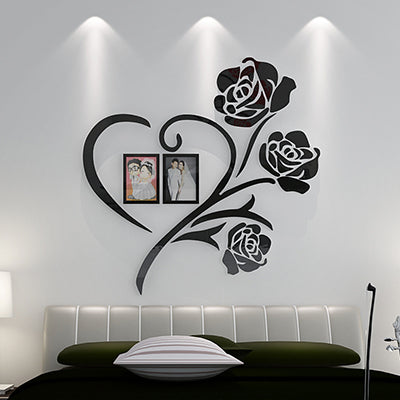 Love Heart Flowers Frame Painting 3D Crystal Acrylic Cheap Wall Stickers  Bedroom Wall Hangings Sticker Mural