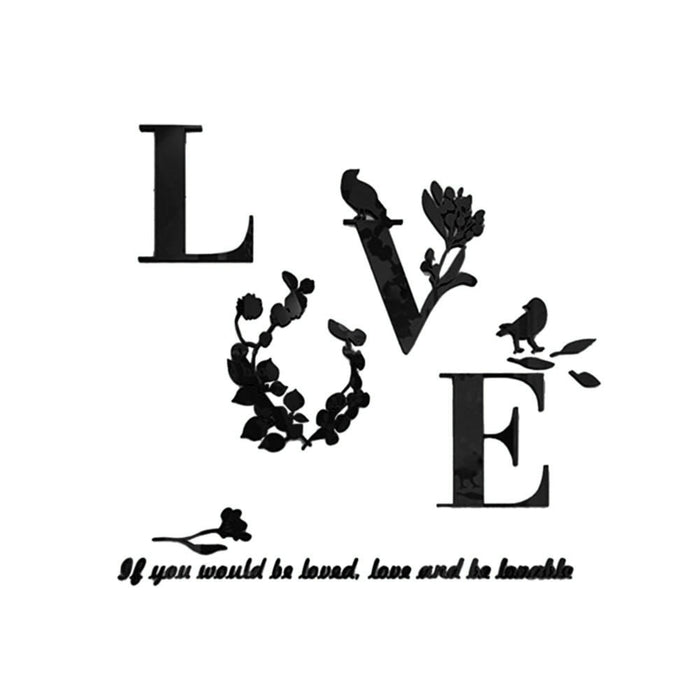 Love Quote 3D Acrylic Mirror Wall Stickers wall decals poster home ...
