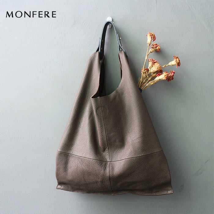 7fabf349f9 MONFERE fashion genuine leather women bag casual HOBO shoulder bags soft  large bucket shopping bags first