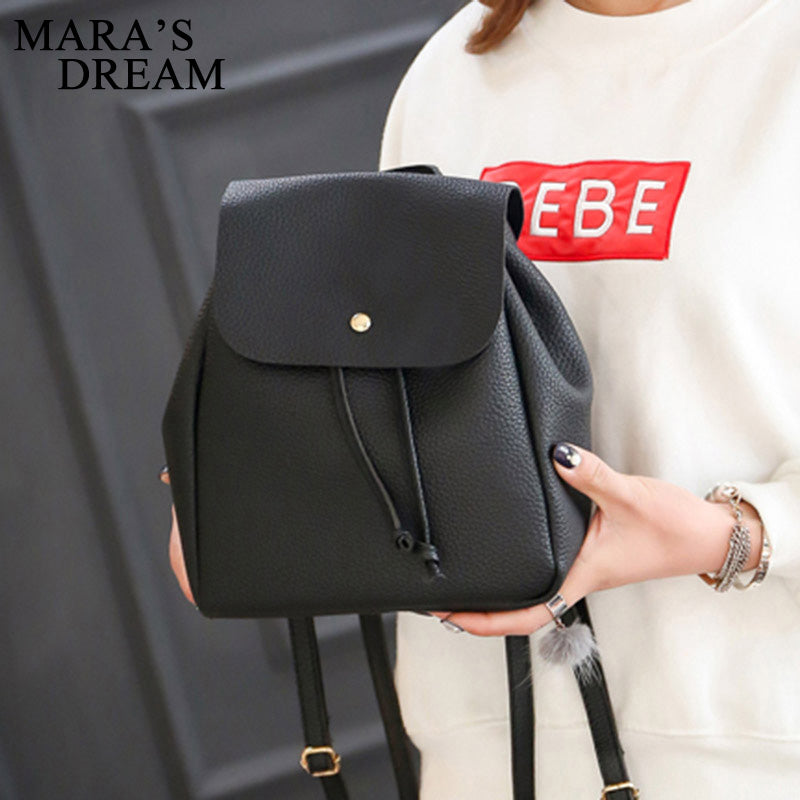 6a5b82837b Mara s Dream 2017 Women Backpack High Quality PU Leather Solid Black C —  EG-Express
