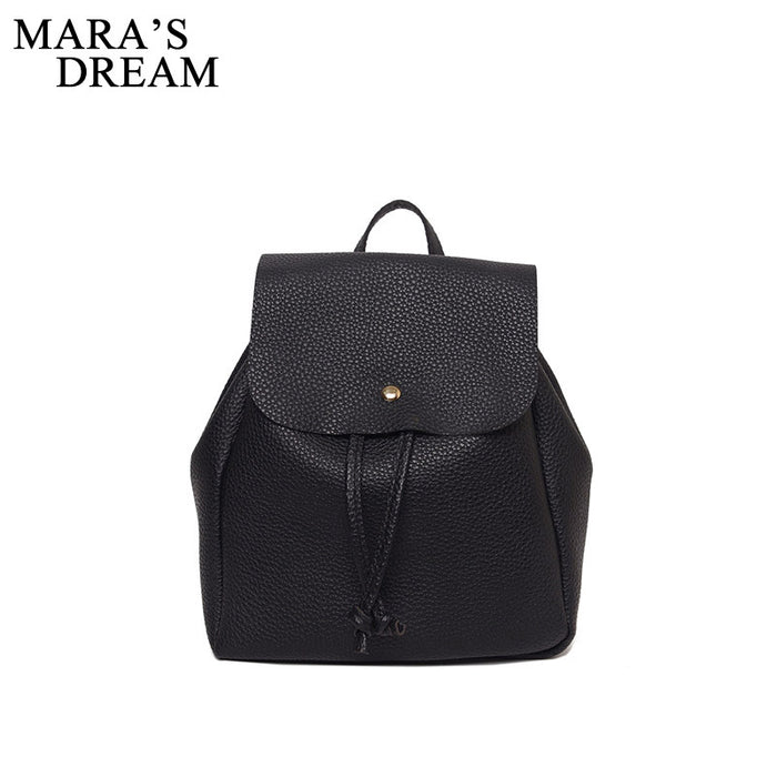 fdf1695bdd Mara s Dream 2017 Women Backpack High Quality PU Leather Solid Black Color  School Bags Teenagers Girls
