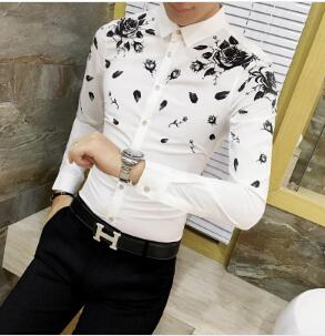 0ae489a3410d Men Dress Shirt with Gold Print Black White Long Sleeve Fashion Designer  Shirt Fancy Shirts Men