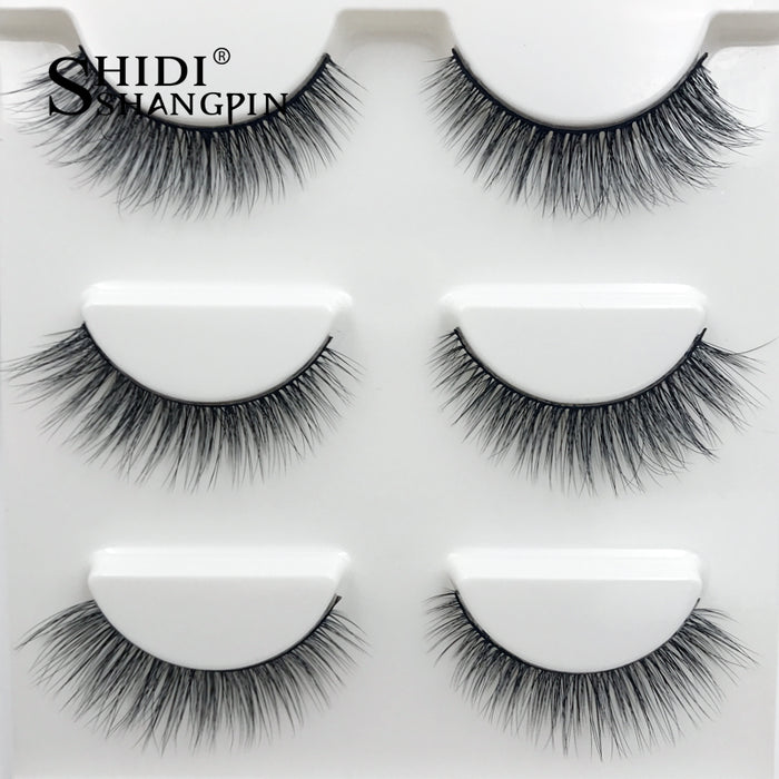 New 3 Pairs Natural False Eyelashes 3d Mink Lashes Extension Soft