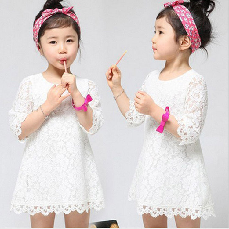 553bf1804 New Baby Girls Flower Lace Dresses 2017 Spring Summer Children s ...