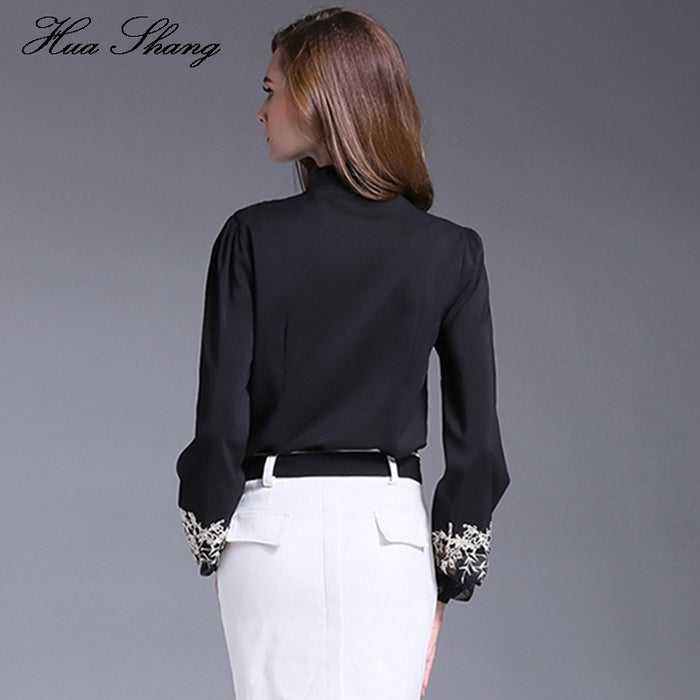 5ee6dcf047b New Fashion Women Tops Embroidery Transparent Floral Lantern Sleeves Black  Blouse Shirt Ladies Work Wear Office