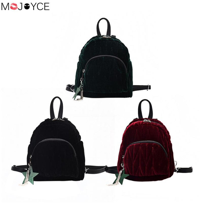 2ee94efbf5cf Preppy Style Travel Rucksack School Bag for Teenage Women Mini Velvet  Backpack Girls Autumn Backpacks Female