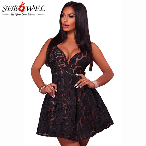 Sexy Black Rose Lace Illusion Party Skater Dress 8f29001dd0b5