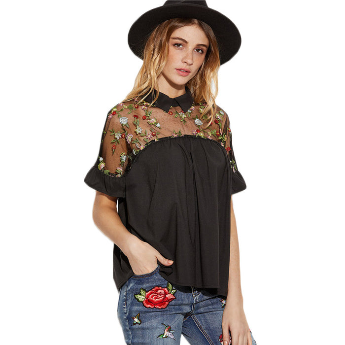 cb50bef7d237d9 FREE SHIPPING SHEIN Summer Tops Black Flower Embroidered Sheer Neck Ruffle  Cuff Tie Back Top Woman