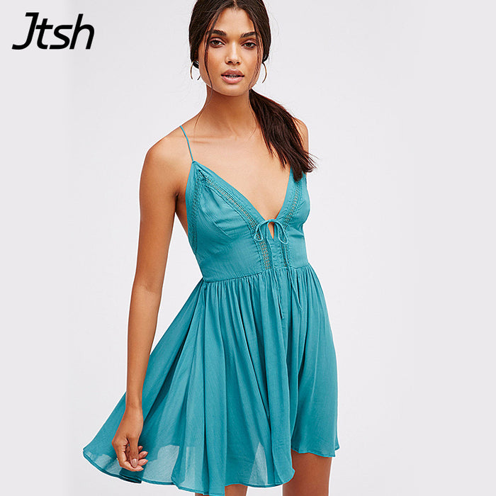 Sexy V Neck Short People Slip Beach Dress Cute Lace Up Backless Party  Hippie Chic Boho b6dbd4dc4