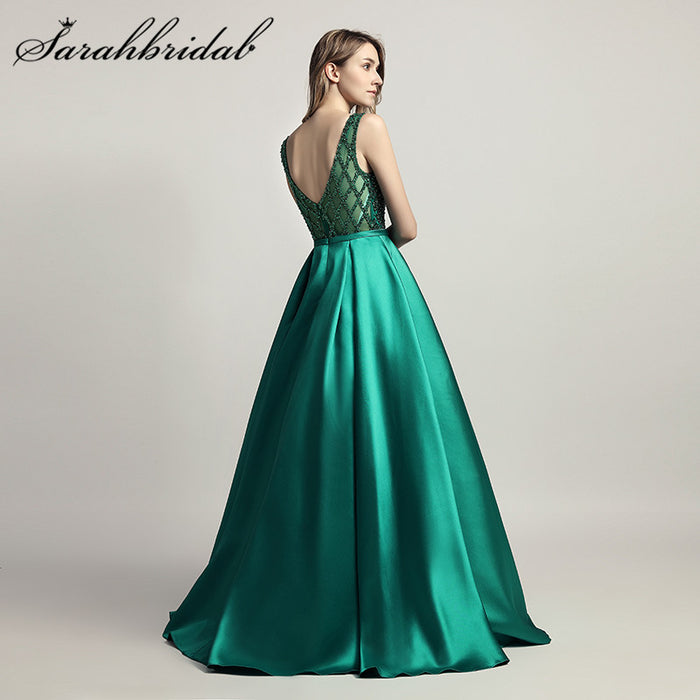 Stunning Beaded Long Evening Dresses O Neck Illusion Back A Line