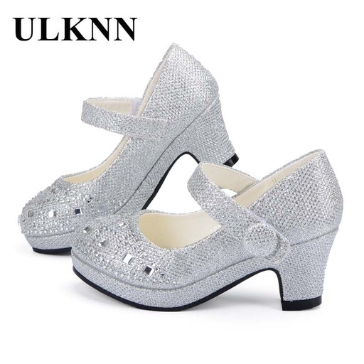 ULKNN Children Princess Shoes for Girls Sandals High Heel Glitter Shiny  Rhinestone Enfants Fille Female Party 8df8d4ca5eea