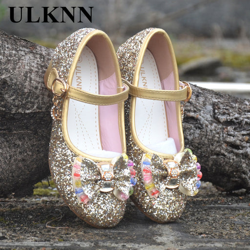 ULKNN Girls Sandals Kids Crystal Shoes Dream High Heels Students Dance Party  Shoes Children Leather Fashion 1bb9ce3a7337
