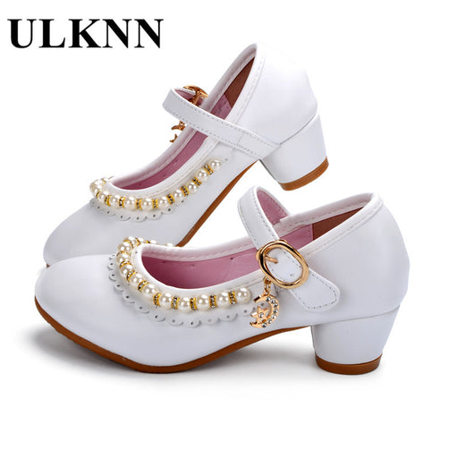 4a93a20c9b9c3 ULKNN Kids Shoes Girls Sandals Ruffles Pink White Fille Shoes Pearl Soft  Leather Female Sandal Children