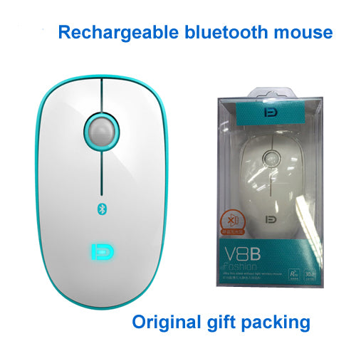 00d695b8098 V8b Rechargeable Slim Silent Bluetooth Wireless Mouse for PC Android Tablet  macbook Laptop free USB charge