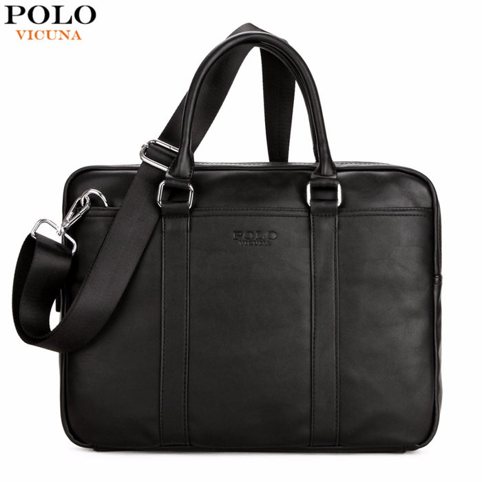 ef3fcf2353c huge discount c358a b92f7 VICUNA POLO Famous Brand Fashion Casual Business  Men Leather Briefcase Bag Trendy ...
