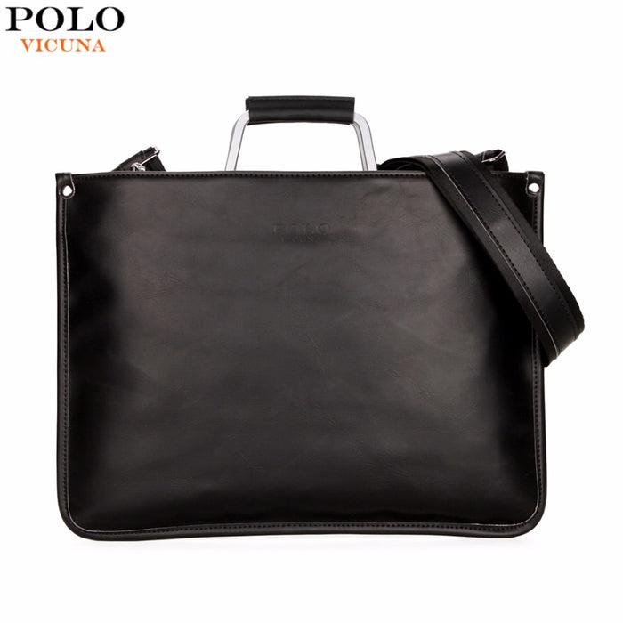ef313ac37 VICUNA POLO Simple Design Leather Men Briefcase With Metal Handle Business  Men Document Bag Classic OL