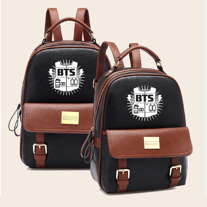 a7dbd8195a Women BTS Backpack High Quality Youth Leather Backpacks for Teens Girls  Female School Shoulder Bag mochila