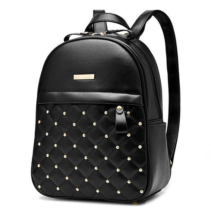 6c683f8743 Women Rivet Quilted Backpack 2017 Hot Sale Casual Travel Shoulder Bag High  Quality PU Leather School