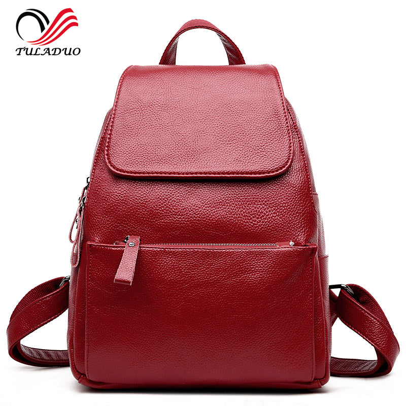 b0e7815aae Women Soft Genuine Leather Ladies Backpack high quality shoulder bags —  EG-Express