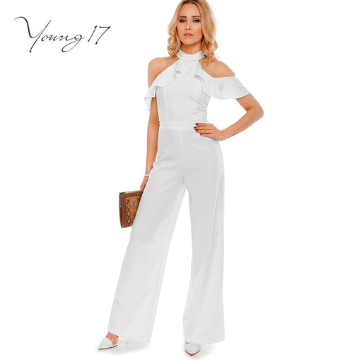 f8eda00437d Free shipping Young17 jumpsuit 2017 new sexy club jumpsuits solid white lady  elegant ruffles off shoulder