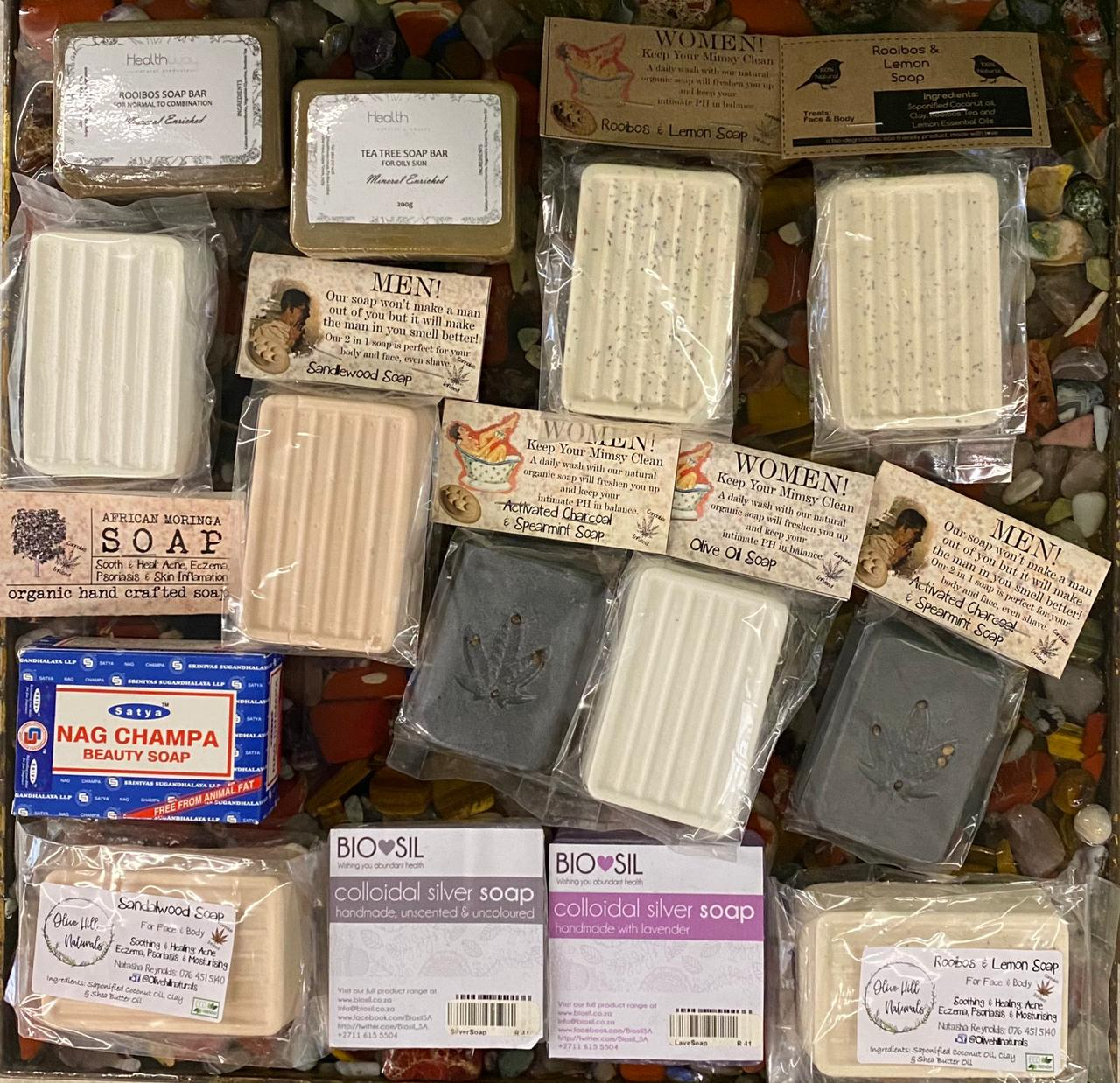 Selection of bath soap bars