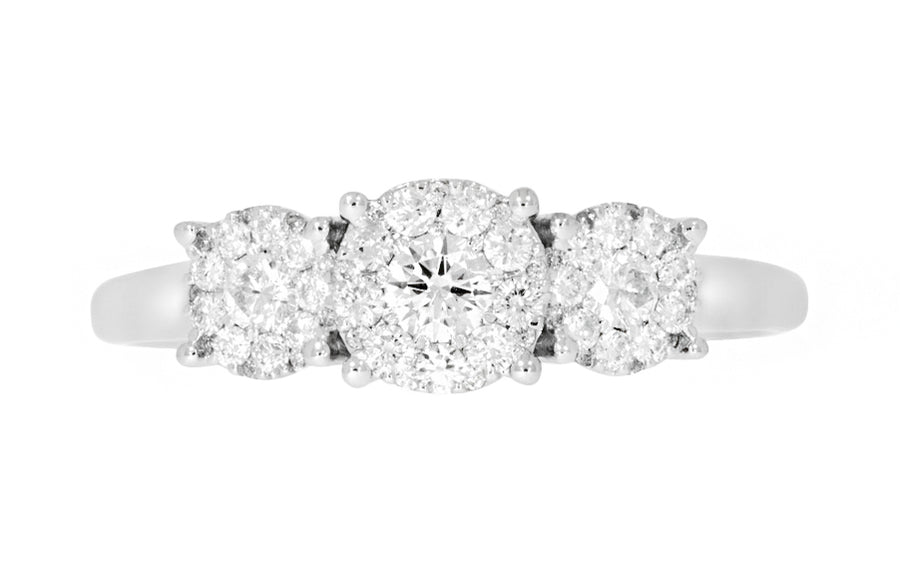 Alexandra diamantring i hvitt 585 gull TW/SI totalt 0,50 ct.