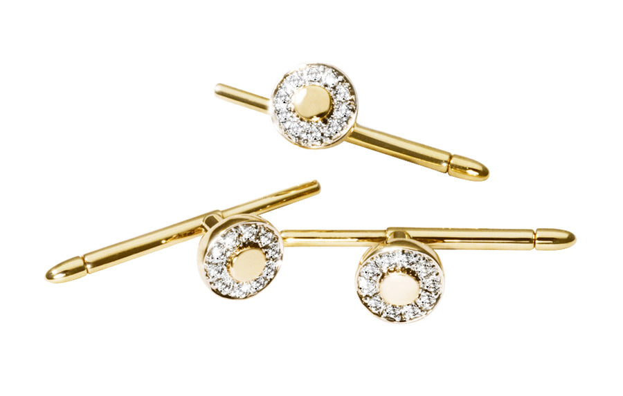 Millenium Studs ( 4 stk.) i gult 585 gull med diamanter TW/SI totalt 0,40 ct.