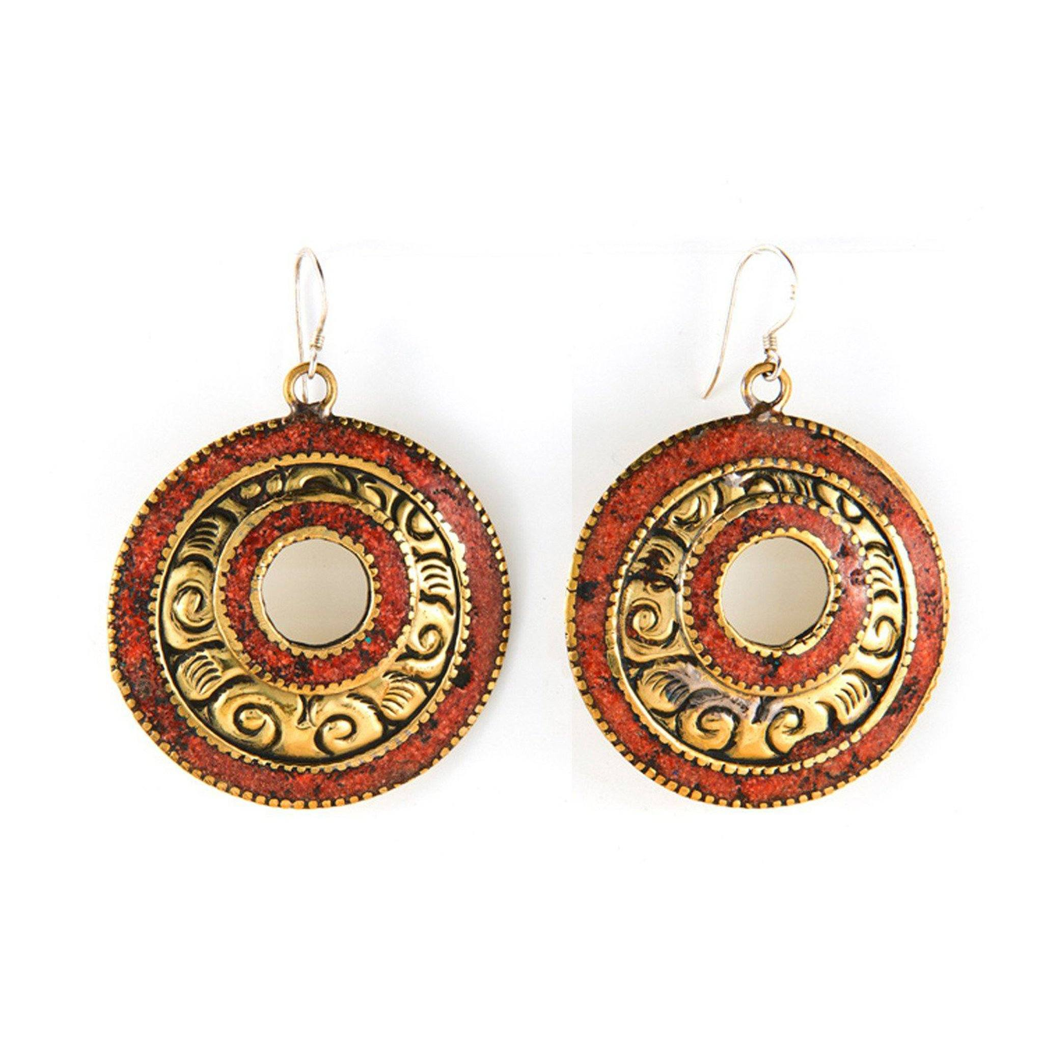 Brass Burnt Orange Earrings Tibet Craft Corner