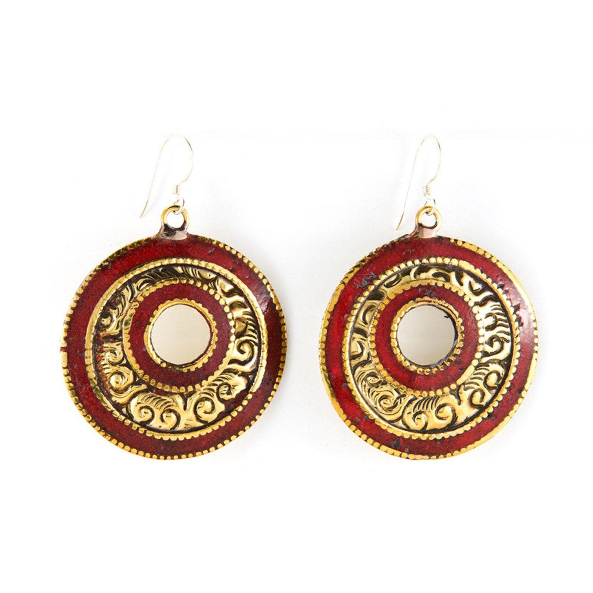 Brass Red Earrings Tibet Craft Corner
