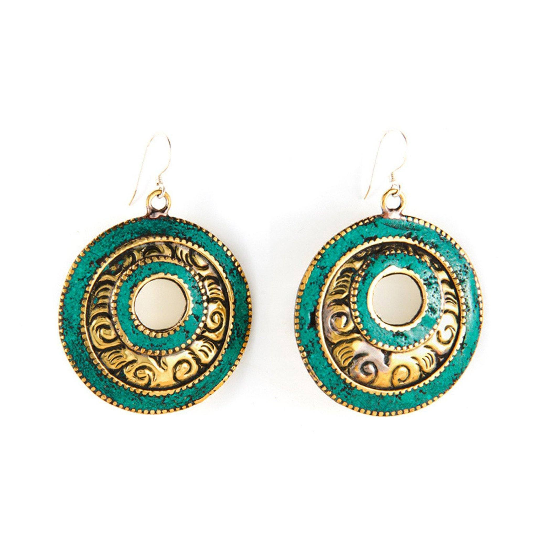 Brass Turquoise Earrings Tibet Craft Corner