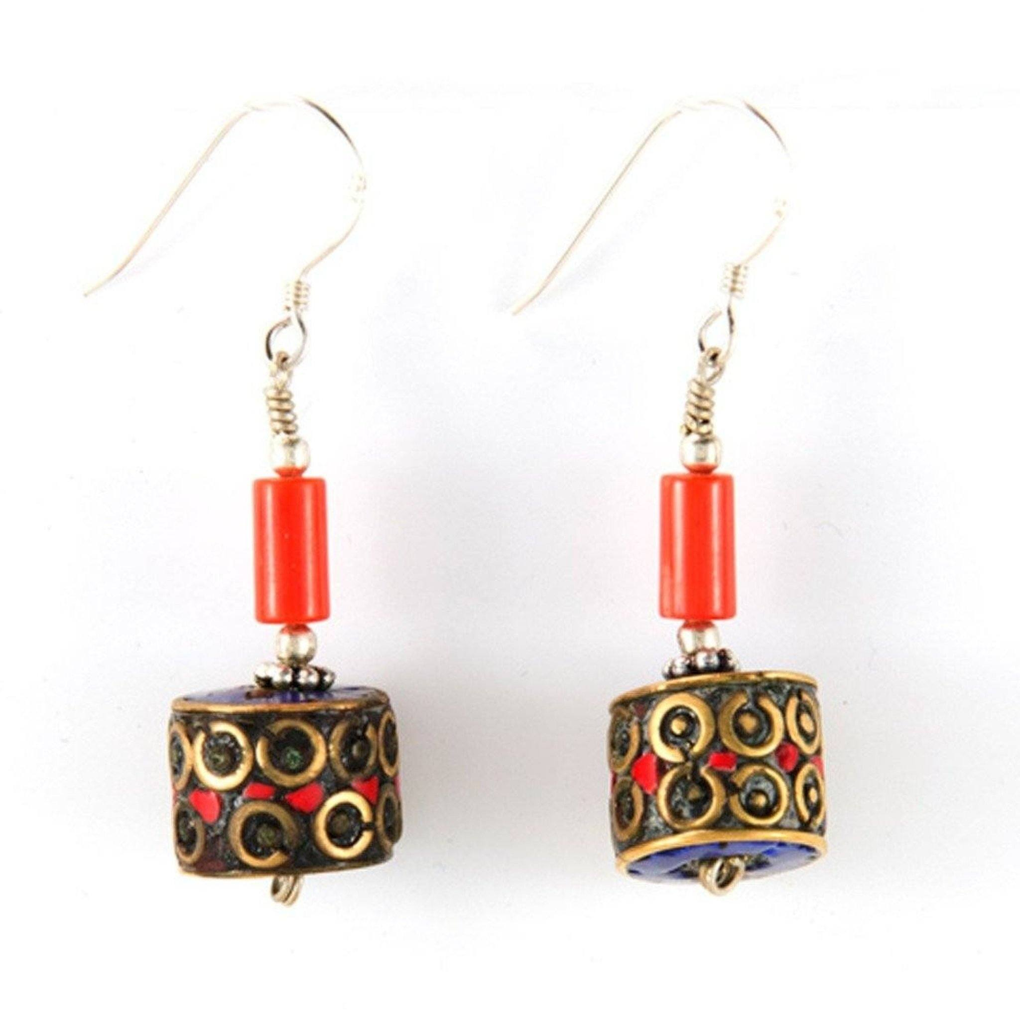 Cylinder Red Earrings Tibet Craft Corner