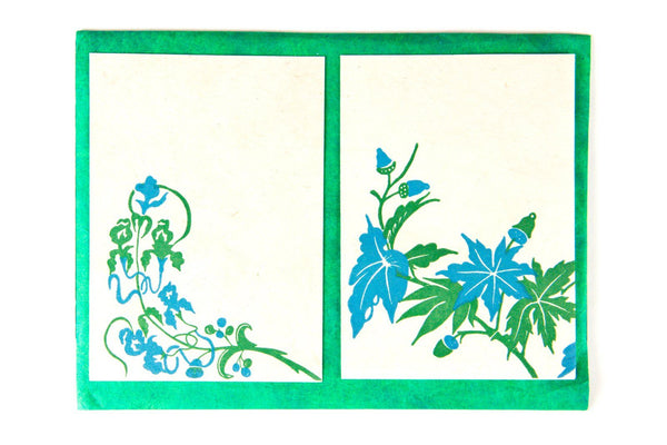 Green & Blue Floral Greeting Cards Paper Bhaktapur Craft Paper