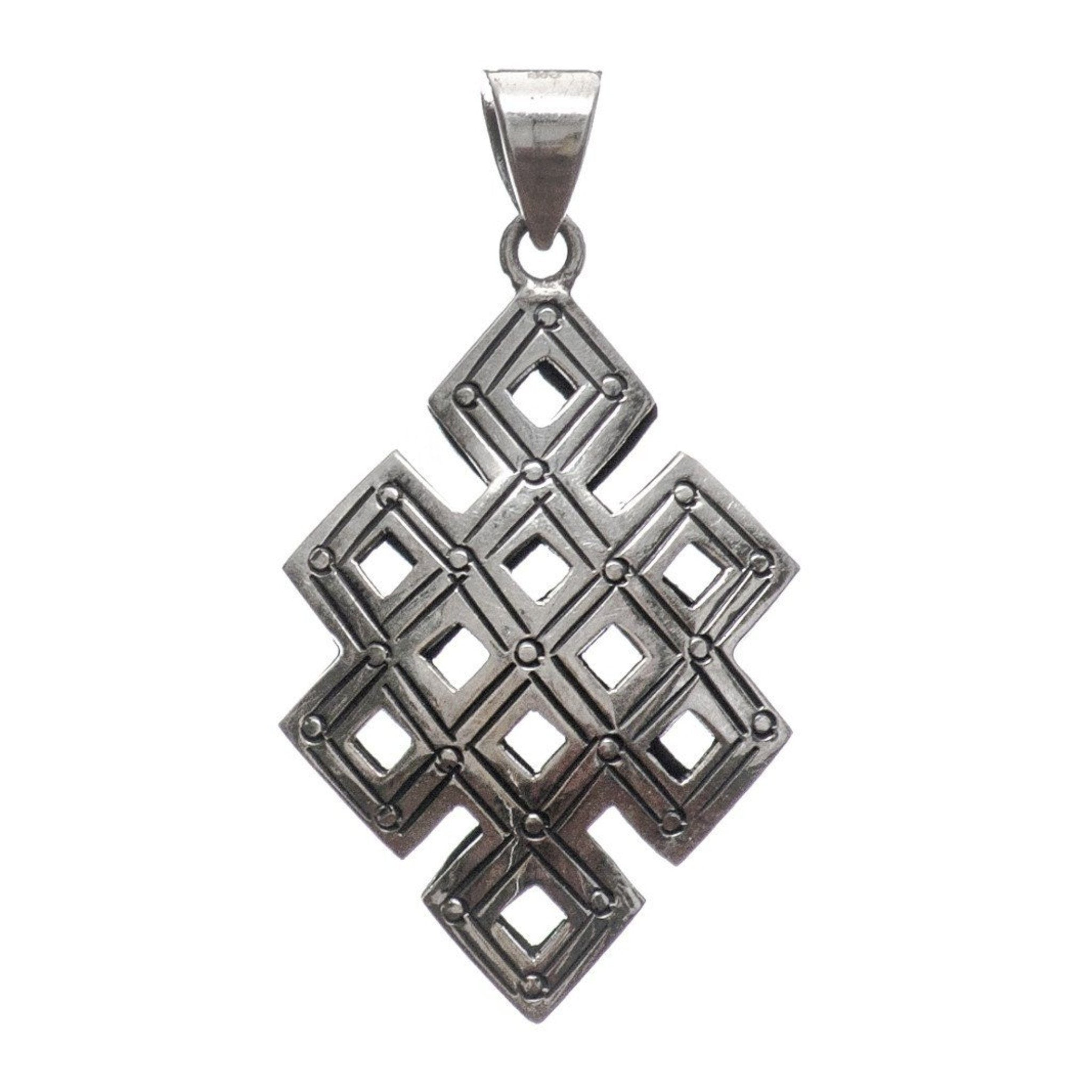 Hollow Etched Endless Knot Pendant Yak & Yeti