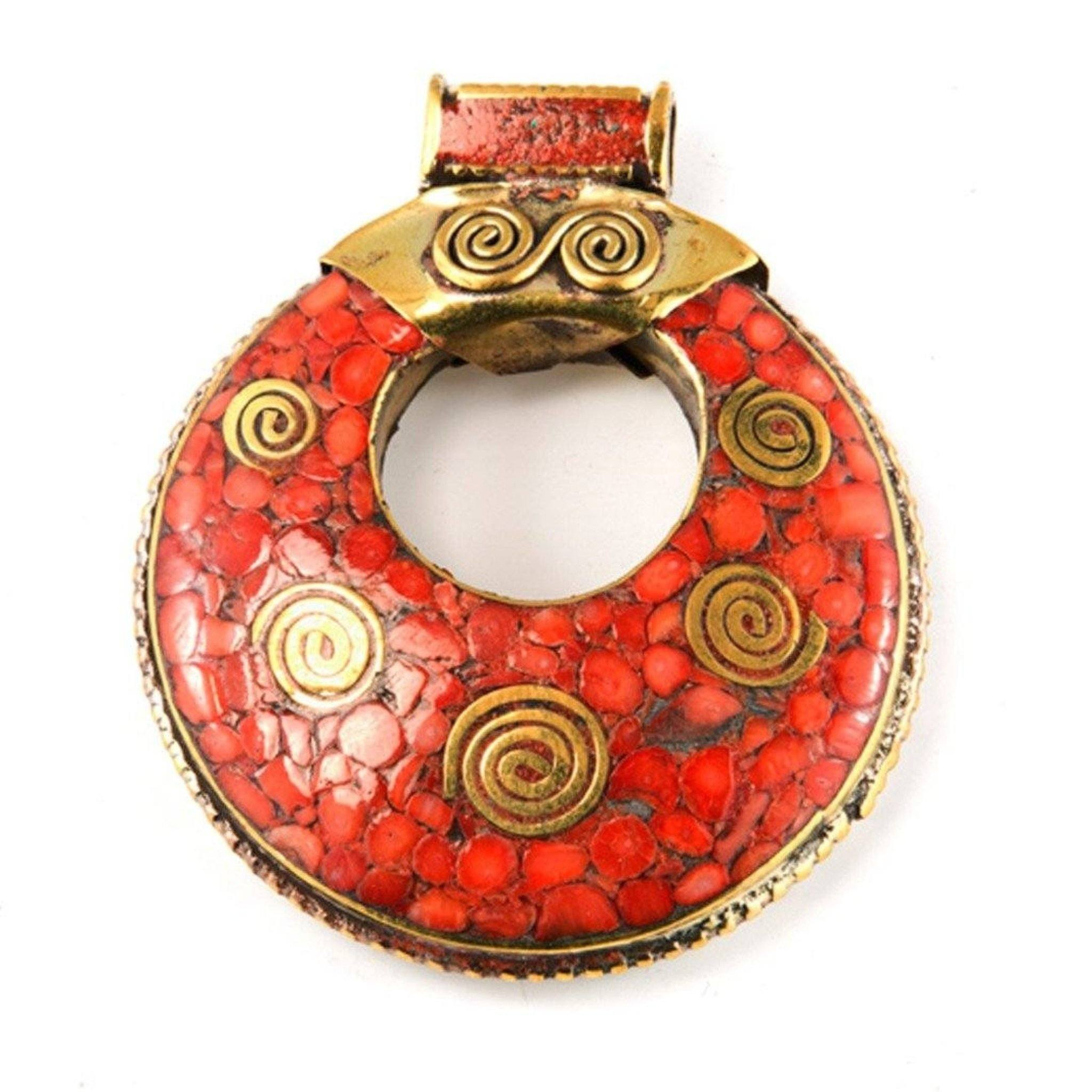 Red Spirals Pendant Tibet Craft Corner
