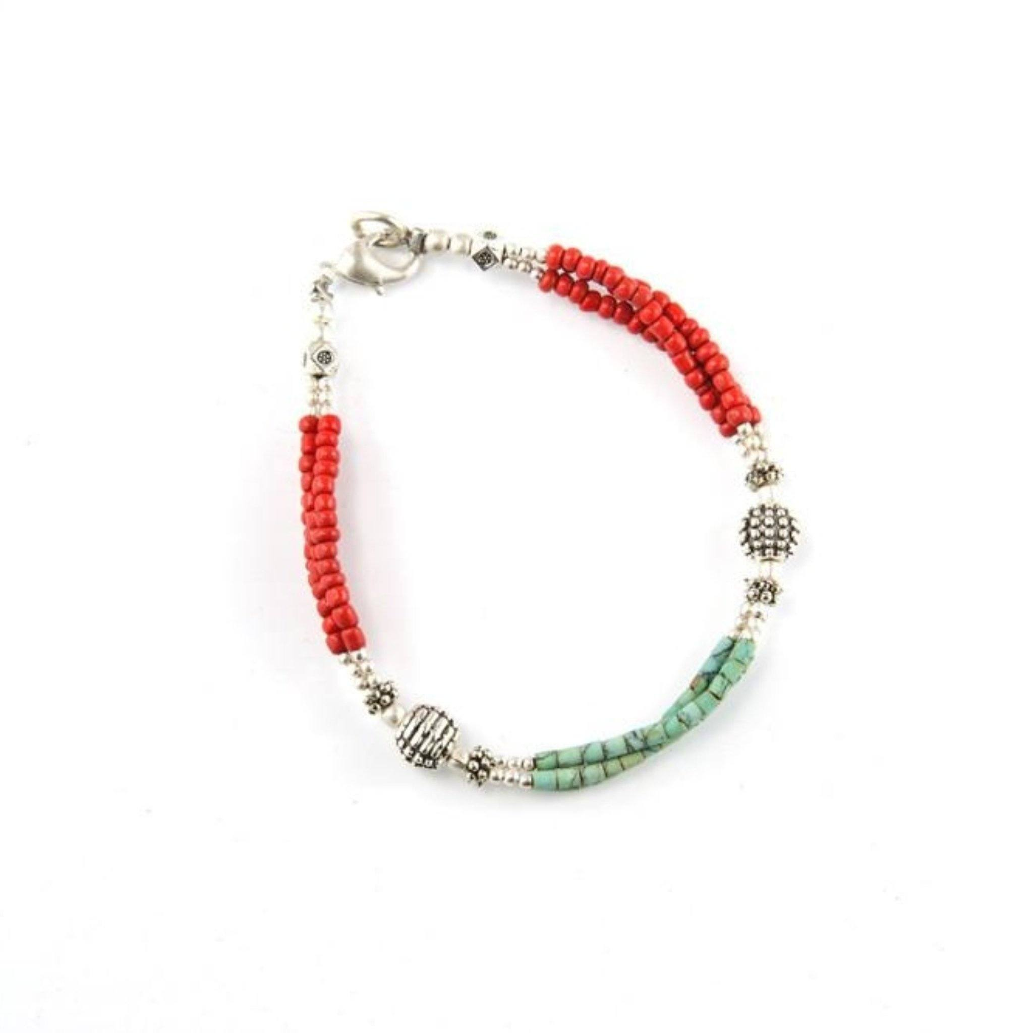 Red Turquoise Bracelet Tibet Craft Corner
