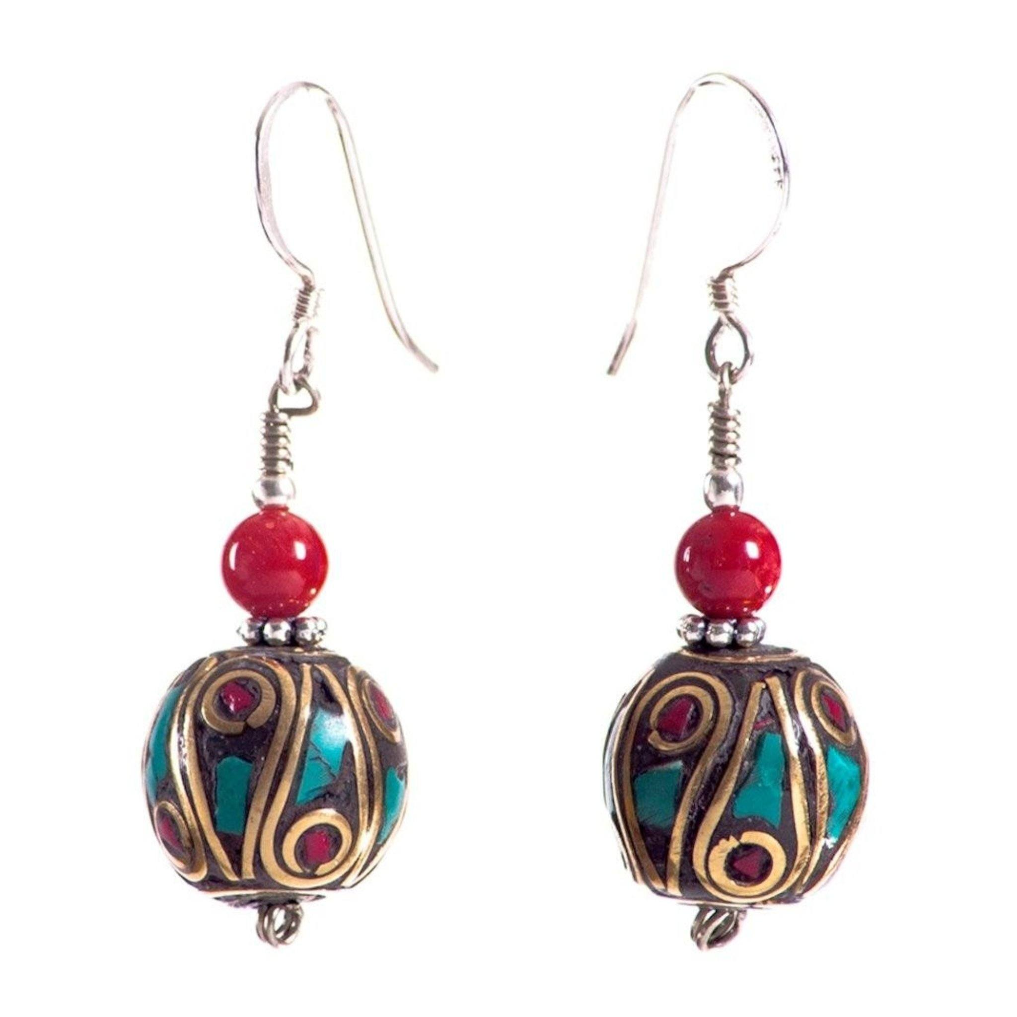 Round Inlay Turquoise Red Earrings Tibet Craft Corner