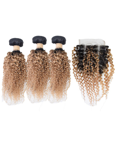 Beau Diva Free Closure Jerry Curl Peruvian Package 4pcs #T1/27 SKU Jerrycurl 4pc#T1/30