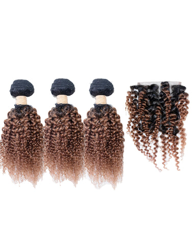 Beau Diva Free Closure Jerry Curl Peruvian Package 4pcs #T1/27 SKU Jerrycurl 4pc#T1/27