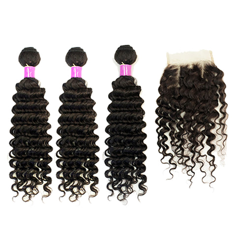 Beau Diva Free Closure Deep Wave Peruvian Package 4pcs SKU DeepWave 4pc
