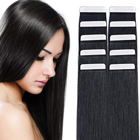 Beau-Diva tape in hair extensions 20 inch Black |hotdot.co.za