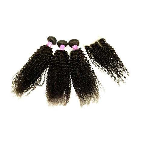 Free Closure Sale Beau Diva 10A Jerry Curl Peruvian Package 4pcs Hotdot