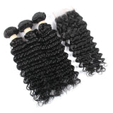 Free Closure:Brazilian WATER WAVE x3Bundles+ Free Closure SKU 3WW/C