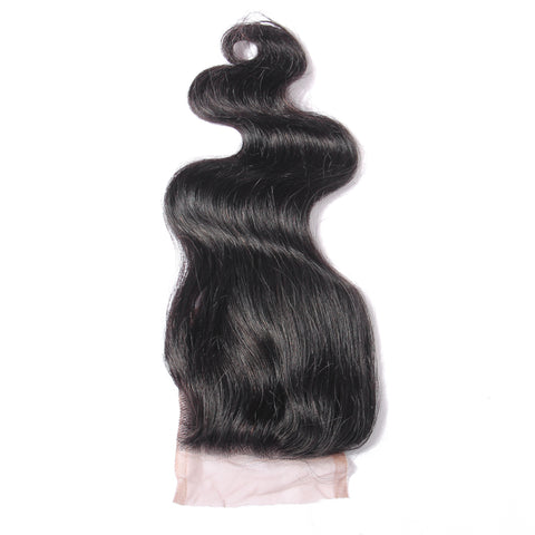 "Beau-Diva 9A Brazilian Hair Body Weave 4x4 Closure Free Part 10"" - 14""inch Black SKU HH CLOSURE 3PART BODY"