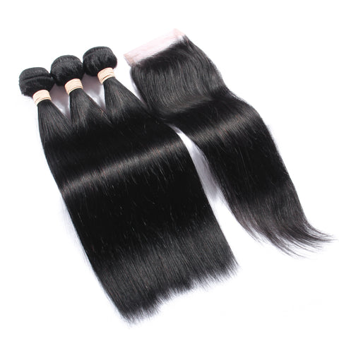 Free Closure:Brazilian Straight Weaves x3Bundles+ Free Closure SKU 3STW/MC