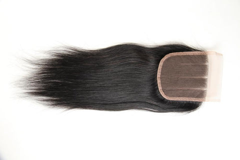 "Beau-Diva 9A Human Brazilian Hair Straight Hair Closure 8""-18""inch Three Parts SKU HH CLOSURE 3PART"